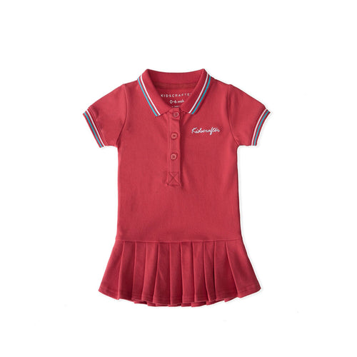 KC Embroidery Polo Dress - Red