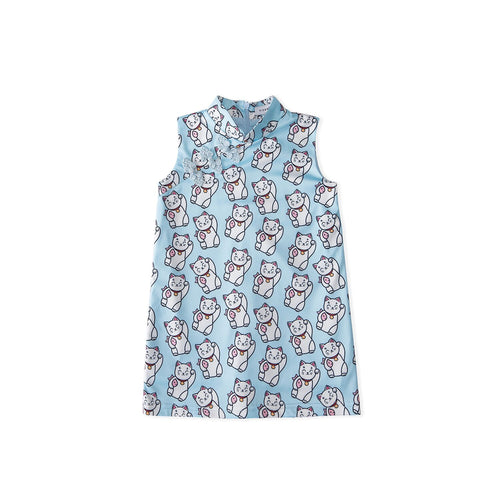 Lucky Fortune Cat Cheongsam - Blue