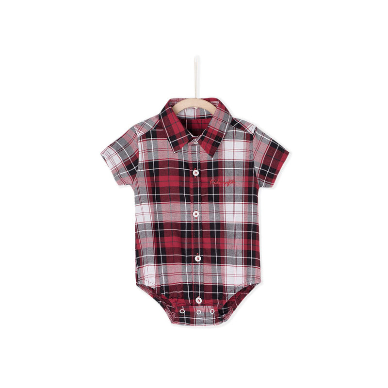 Small Check Shirt Romper - Red