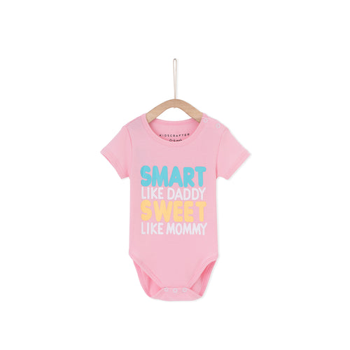 Smart Like Daddy Sweet Like Mummy Baby Romper- Pink