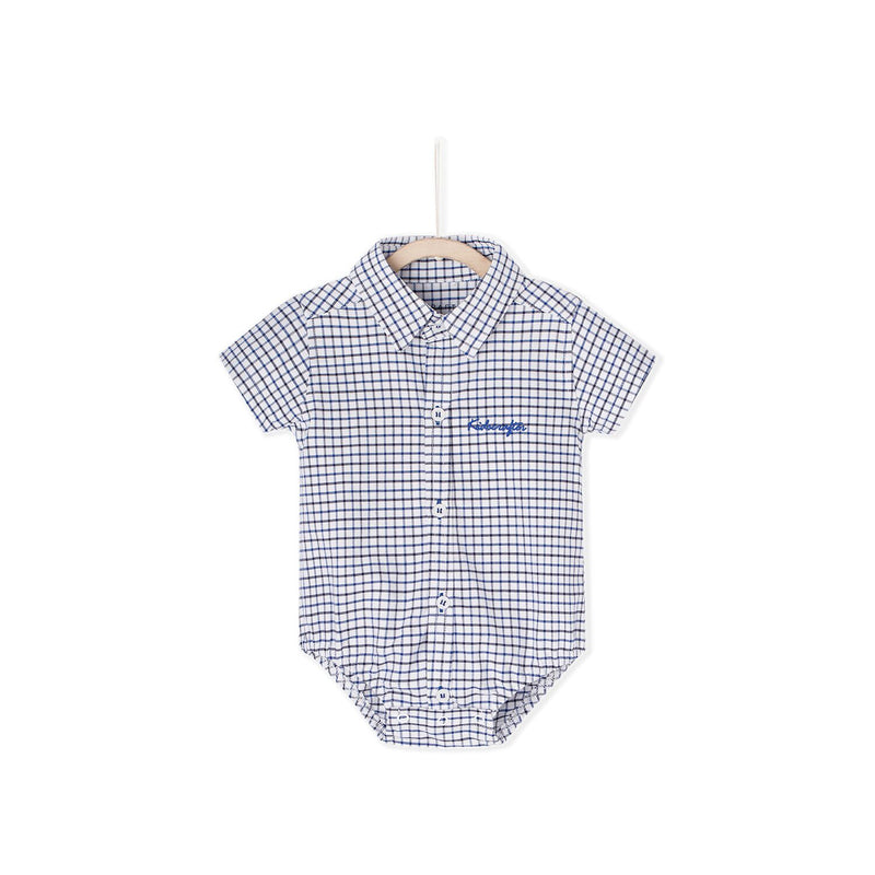 Tattersall Check Shirt Romper - Blue