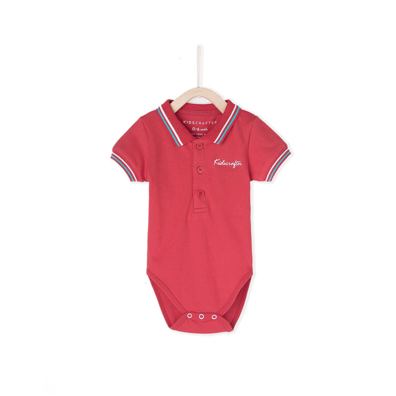 KC Embroidery Polo Romper - Red