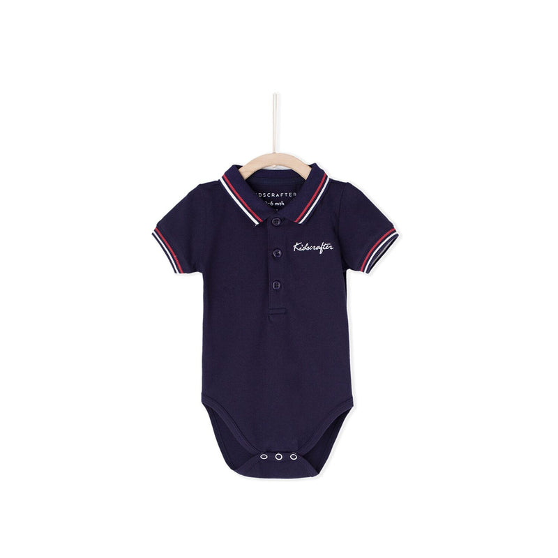 KC Embroid Polo Romper - Blue
