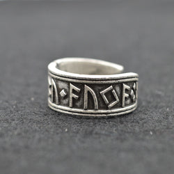 Antique Silver Viking Rune  Ring
