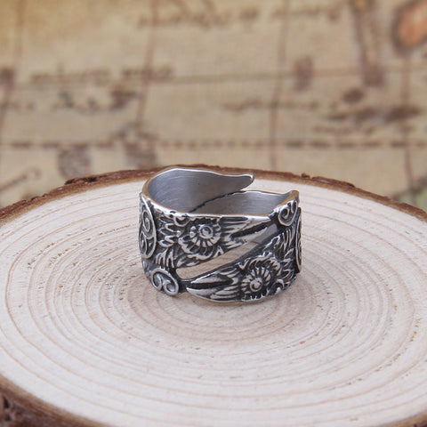 Viking Raven Resizable Ring