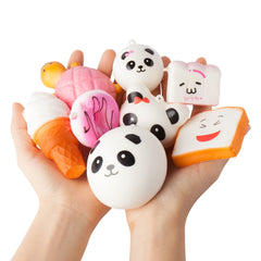 8-Piece Squishy Set of Baked Goods Including Cake, Panda, Bread, Buns with Phone Key Chain Strap