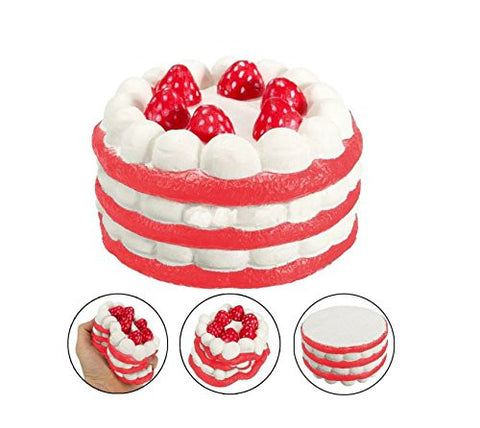 Super Slow Rising Strawberry Cake Squishy Stress Relief Toy Gift (Red)