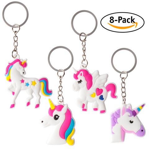 8-Pack Assorted Unicorn Party Favor Keychains