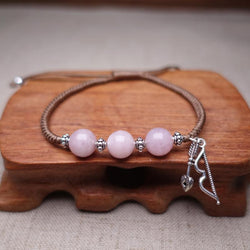 Sterling Silver CUPIDS BOW & Rose Quartz  SEEKING LOVE Red Rope Bracelet