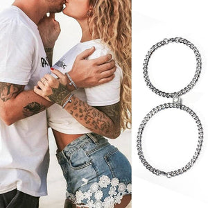 'FEEL MAGNETIZED ' Couples Stainless Steel Miami Cuban Link  2pc Bracelet Set
