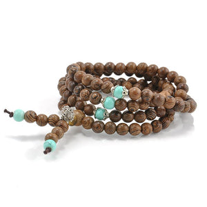 Sandalwood & Turquoise 108 Bead Mala Bracelet Necklace