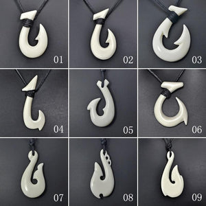 New Zealand Maori Tribal Style Hand Carved Bone 'HEI-MATAU'( Fish Hook)  SAFE JOURNEY Necklace-9 styles