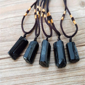 Natural  Raw Black Tourmaline  Stone SHIELDING Pendant Necklace- Buy 1 , Get 1 50% off