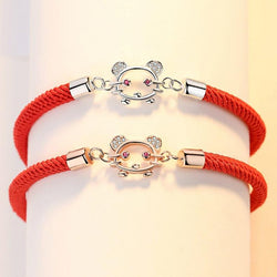 2020 YEAR OF THE METAL RAT-925 Sterling Silver & Red Rope Zodiac Bracelet