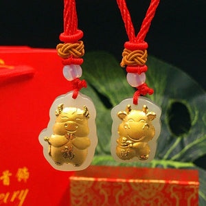Nephrite Jade & Gold Leaf YEAR OF THE OX Necklace