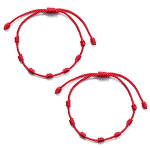 7 Knots for LUCK & EVIL EYE PROTECTION Cotton Red Thread  2pc Bracelet/ Anklet Set