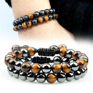 Natural Stone and Hematite NO FEAR 2PC Bracelet Set