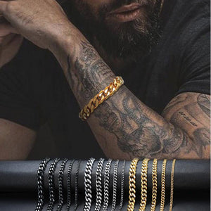 Men's TITANIUM STEEL Miami Cuban Link CLASSIC DUDE Bracelet in 4 Colors -Sizes up to 9 inches