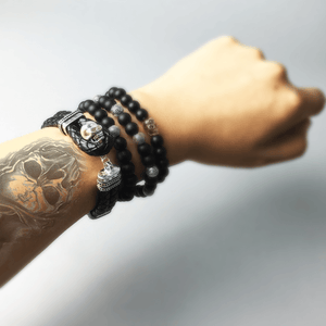 Men's Black Leather Skull Strap Bracelet