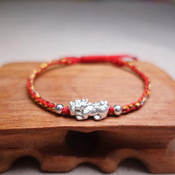 Sterling Silver FENG SHUI LUCKY PIXIU Red Rope Bracelet