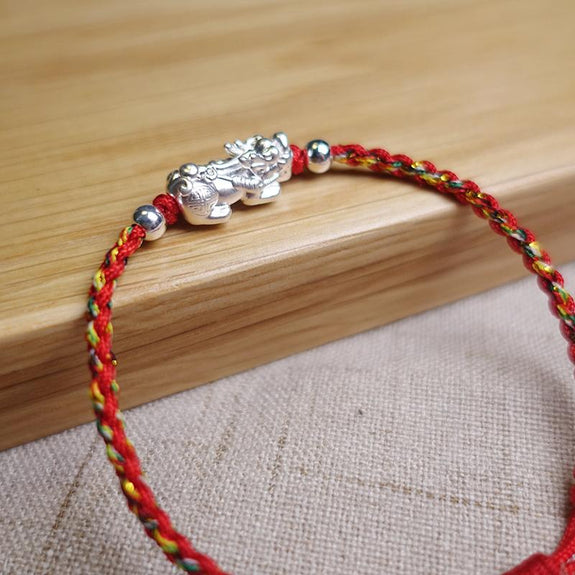 Solid 925 Sterling Silver Baby Pixiu with Red Cord Lucky Bracelet Handmade 16cm