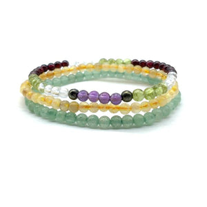 ULTIMATE MONEY MAGNETS-Amethyst ,Aventurine,Citrine,Peridot& Garnet- 3/pc  *MIGHTY MINIS* 4mm Bracelet set