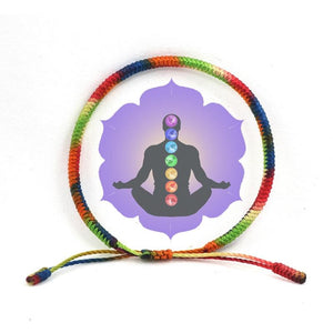 Tibetan Buddhist Lucky  7 CHAKRA for ' BALANCE' Hand Tied Mantra Bracelet