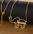 Personalized Stainless Steel 'STRENGTH' Elephant Necklace