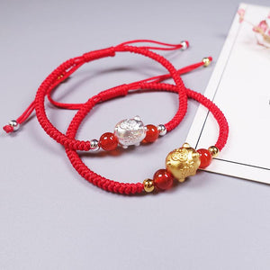24k Gold Plated or PURE SILVER PIG Lucky Red Rope Bracelet