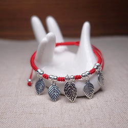 Sterling Silver  'GROWTH' Leaf charm Red Rope Bracelet