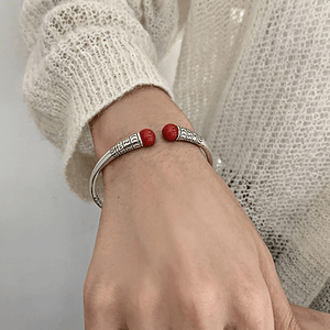 THAI SILVER Red Agate Tibetan Bangle
