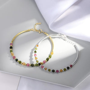 925 Sterling Silver & Rainbow Tourmaline HEAL the HEART Bracelet