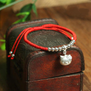 925 Sterling & Lucky Red Rope Cat Lovers Bracelet