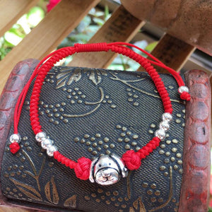 925 Sterling Silver & Red Rope Chinese Zodiac Dog Lucky Bracelet