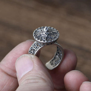 925 sterling Silver Hollow Pattern Six Syllable MANTRA & LOTUS SPINNING  Ring