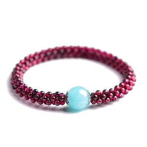 Genuine Garnet & Amazonite Stone COURAGE & HOPE Bracelet