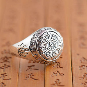 Limited Edition- Solid 925 Silver 6 syllable Lotus Mantra Signet Ring- UP TO SIZE 15!