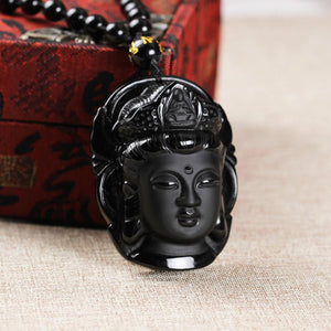 Handcrafted Obsidian Guanyin Buddha Pendant Necklace