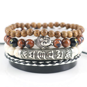 4pc Om Mani Padme Hum MANTRA Set with Buddha & Natural Stone