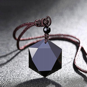 Black Obsidian Cubic Hexagram NO NEGATIVITY Pendant Necklace