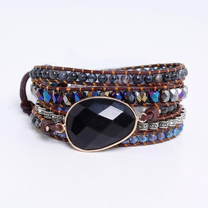 Black Onyx HEALING & GROUNDING 5 Tier Wrap Bracelet- IN STOCK USA