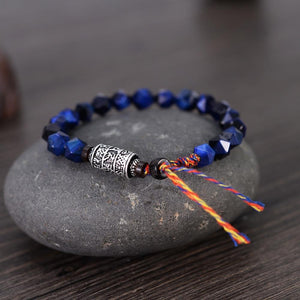Ethnic Tibetan Faceted Blue Tiger Eye Stone SIX TRUE WORDS MANTRA Bracelet
