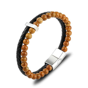 Leather & Natural Stones Lapis,Wood Jasper & Onyx  ENERGY BOOST  Mens Bracelet