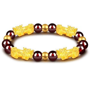 24K Gold Plated PIXIU /APPLE / FLOWER Accents & Genuine GARNETS Wealth / Peace Bracelet