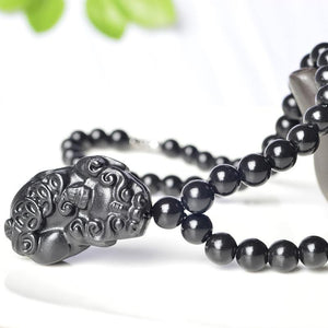 Black Jade / Bianshi ' Stone of Life ' THERAPEUTIC Pixiu Necklace- FREE BRACELET included!