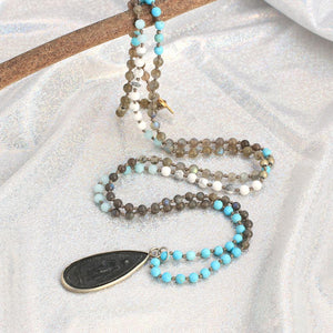 Ancient Style Thai BUDDHA AMULET & Labradorite/Turquoise Stone TRANSFORMATION Necklace