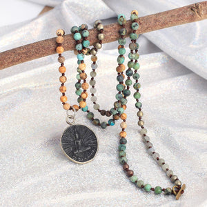 Ancient Style Thai BUDDHA AMULET & African Turquoise/ Picture Jasper Stone SERENITY Necklace