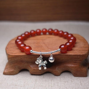 Natural Red Agate with Sterling Silver WIND HORSE