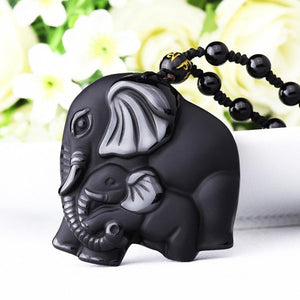 Handcarved Obsidian Mother Baby Elephant  Pendant Necklace