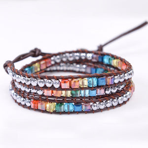 Handmade 7 Chakra Crystal & Hematite Leather Wrap Bracelet